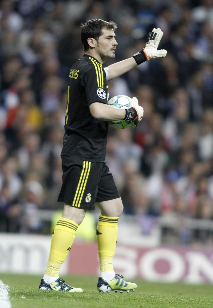 Real Madrid's Iker Casillas during UEFA Champions League match. April 25, 2012.