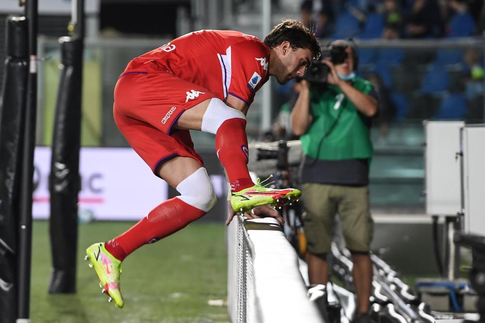 Db Bergamo 11/09/2021 - campionato di calcio serie A / Atalanta-Fiorentina / foto Daniele Buffa/Image Sport nella foto: esultanza gol Dusan Vlahovic
