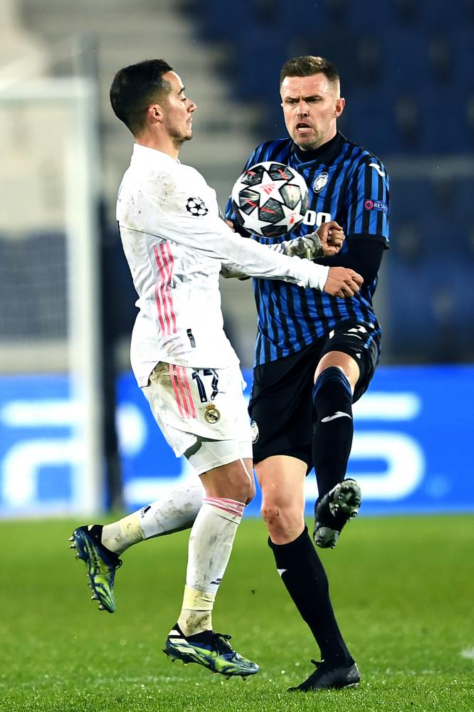 Mg Bergamo 24/02/2021 - Champions League / Atalanta-Real Madrid / foto Matteo Gribaudi/Image Sport nella foto: Lucas Vazquez-Josip Ilicic