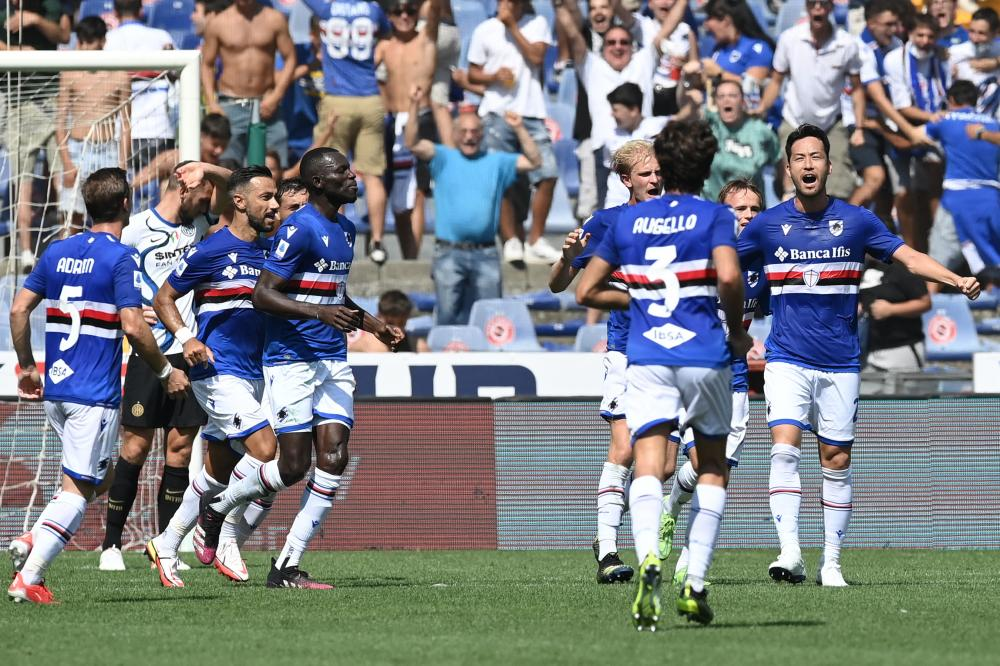 Db Genova 12/09/2021 - campionato di calcio serie A / Sampdoria-Inter / foto Daniele Buffa/Image Sport nella foto: esultanza gol Maya Yoshida