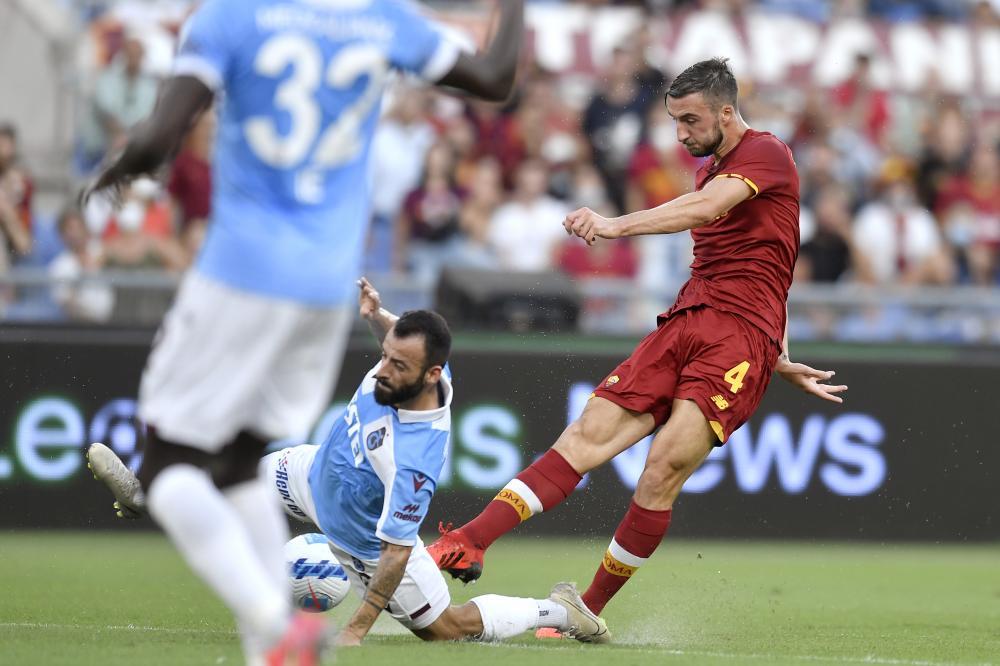 Roma 26/08/2021 - Conference League / Roma- Trabzonspor / foto Insidefoto/Image Sport nella foto: gol Bryan Cristante