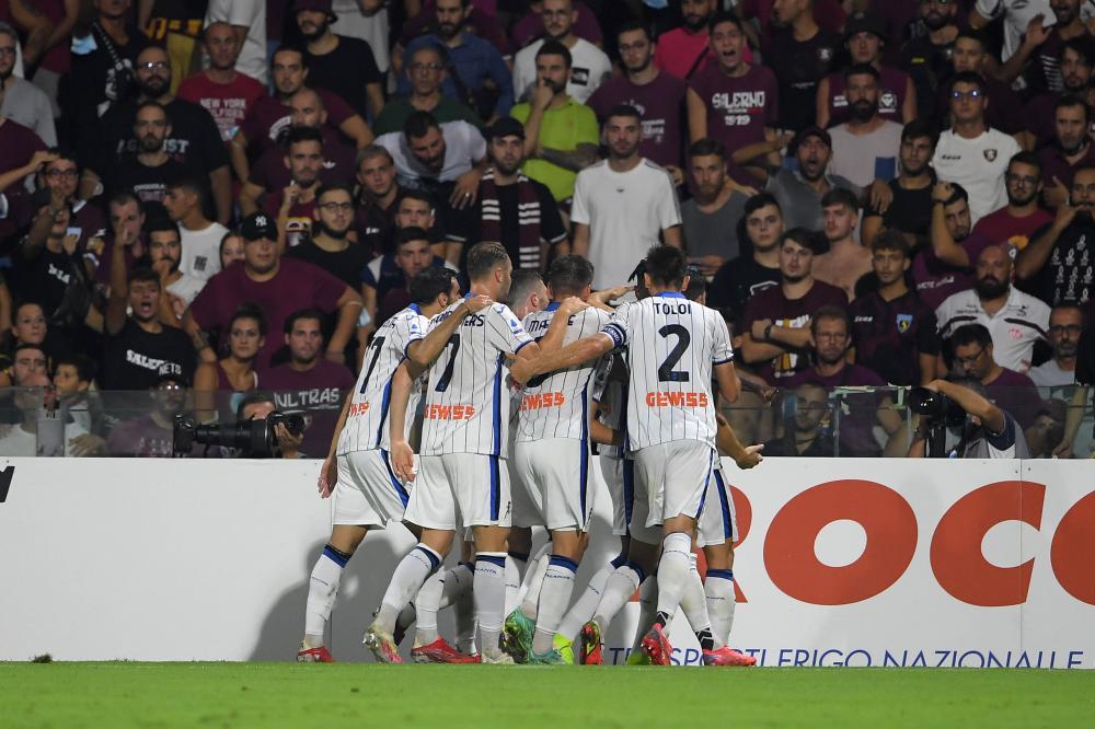 Salerno, Salernitana-Atalanta, Campionato Serie A 2021/22 Nella foto: l' Atalanta esulta dopo il gol di Duvin Zapata ( Atalanta )