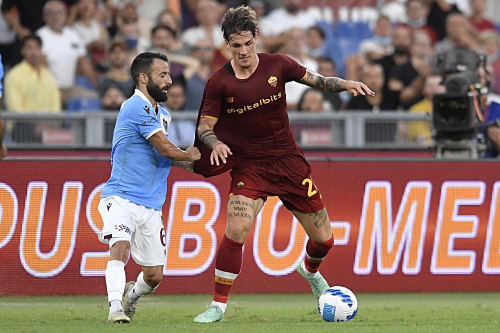 Roma 26/08/2021 - Conference League / Roma- Trabzonspor / foto Insidefoto/Image Sport nella foto: Nicolo' Zaniolo-Manolis Siopis