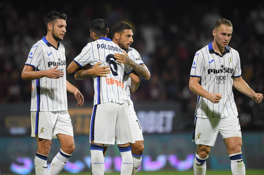 Salerno, Salernitana-Atalanta, Campionato Serie A 2021/22 Nella foto: l'esultanza dell' Atalanta a fine gara