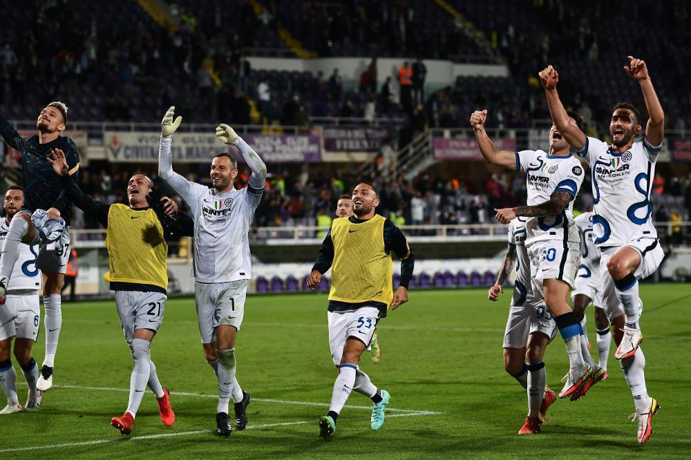 Mg Firenze 21/09/2021 - campionato di calcio serie A / Fiorentina-Inter / foto Matteo Gribaudi/Image Sport nella foto: esultanza a fine gara Inter