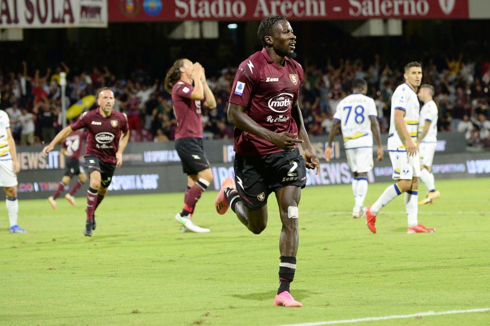 Salerno, Salernitana-Hellas Verona-Campionato Serie A 2021/22 Nella foto: Mamadou Coulibaly ( Salernitana ) esulta dopo il gol