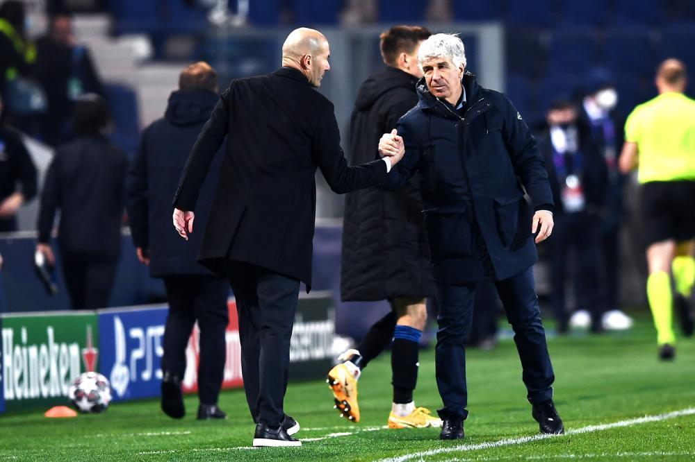 Mg Bergamo 24/02/2021 - Champions League / Atalanta-Real Madrid / foto Matteo Gribaudi/Image Sport nella foto: Zinedine Zidane-Giampiero Gasperini