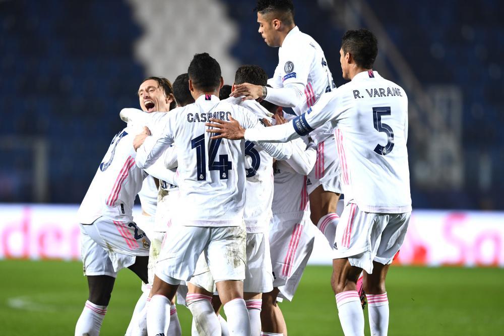 Mg Bergamo 24/02/2021 - Champions League / Atalanta-Real Madrid / foto Matteo Gribaudi/Image Sport nella foto: esultanza gol Ferland Mendy