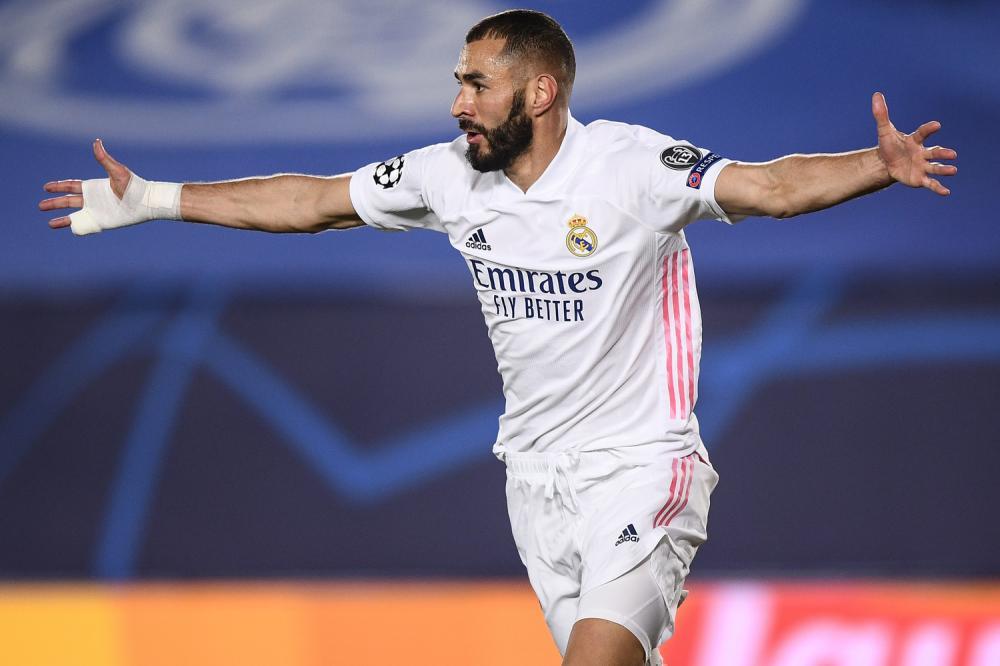 Madrid (Spagna) 03/11/2020 - Champions League / Real Madrid-Inter / foto Image Sport nella foto: esultanza gol Karim Benzema