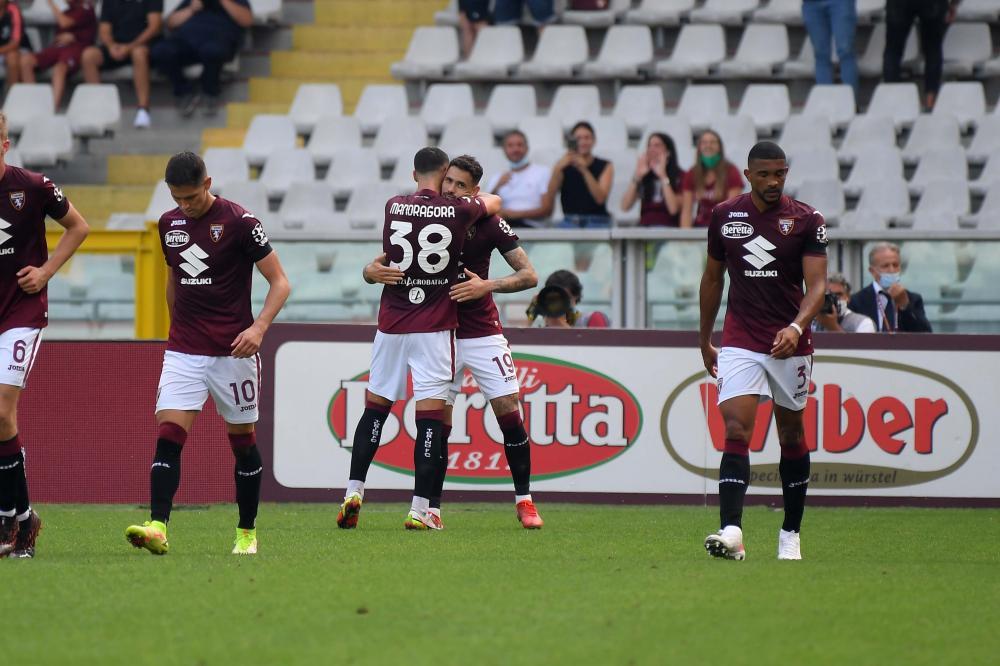 Torino, Torino—Salernitana-Campionato Serie A 2021/22 Nella foto: l'esultanza di Antonio Sanabria ( Torino FC )