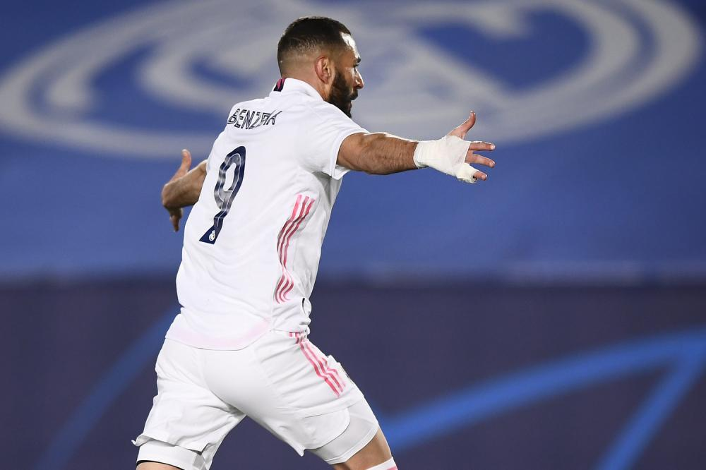 Madrid (Spagna) 16/03/2021 - Champions League / Real Madrid-Atalanta / foto Image Sport nella foto: esultanza gol Karim Benzema