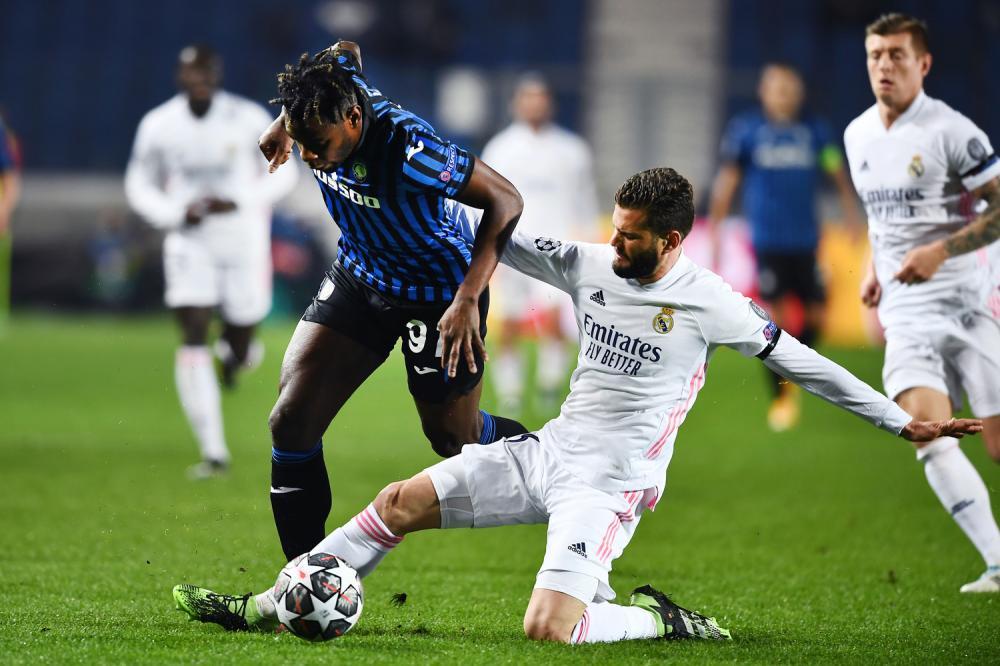 Mg Bergamo 24/02/2021 - Champions League / Atalanta-Real Madrid / foto Matteo Gribaudi/Image Sport nella foto: Duvan Zapata-Nacho Fernandez