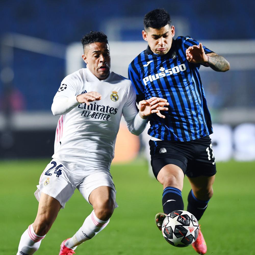 Mg Bergamo 24/02/2021 - Champions League / Atalanta-Real Madrid / foto Matteo Gribaudi/Image Sport nella foto: Mariano Diaz-Cristian Romero