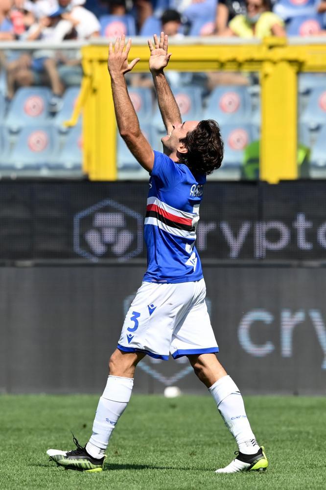 Db Genova 12/09/2021 - campionato di calcio serie A / Sampdoria-Inter / foto Daniele Buffa/Image Sport nella foto: esultanza gol Tommaso Augello