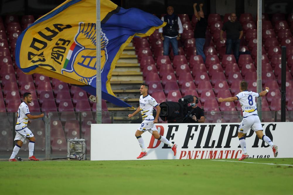 Salerno, Salernitana-Hellas Verona-Campionato Serie A 2021/22 Nella foto: Nikola Kalinic ( Hellas Verona ) esulta dopo il primo gol del Verona