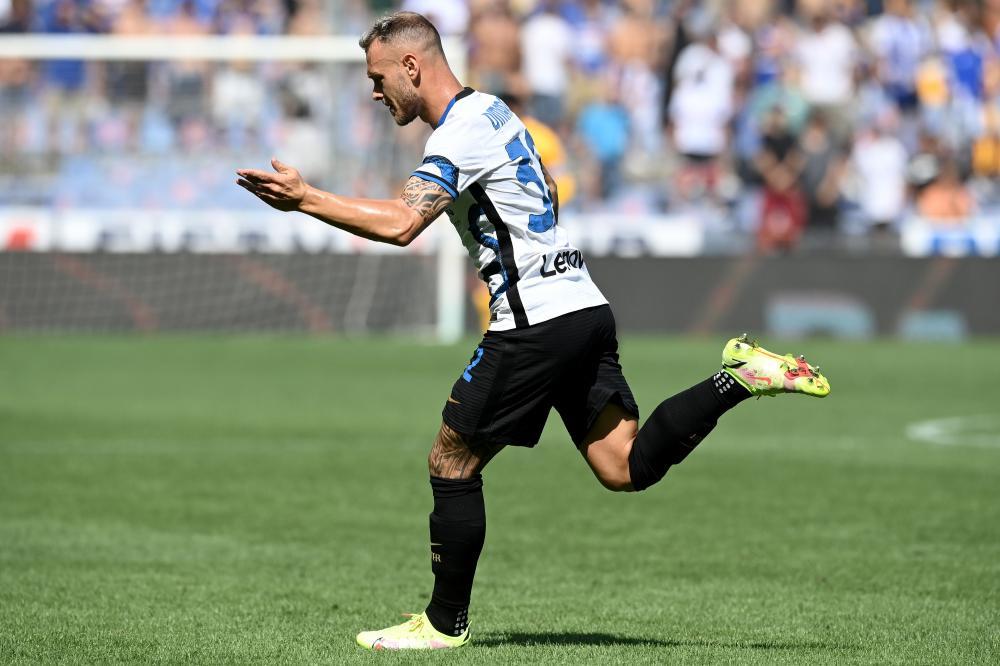 Db Genova 12/09/2021 - campionato di calcio serie A / Sampdoria-Inter / foto Daniele Buffa/Image Sport nella foto: esultanza gol Federico Dimarco