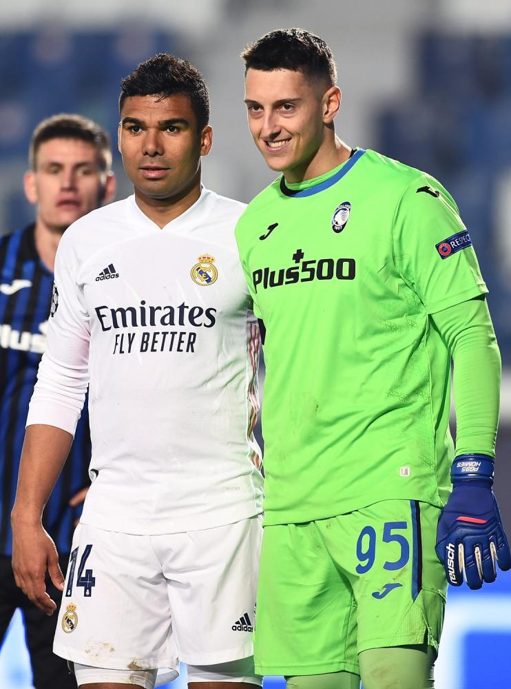 Mg Bergamo 24/02/2021 - Champions League / Atalanta-Real Madrid / foto Matteo Gribaudi/Image Sport nella foto: Pierluigi Gollini-Casemiro